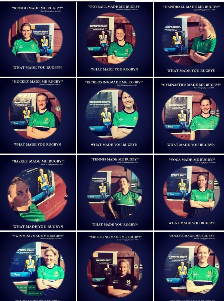 Flera små foton med personer fotade i grönsvarta kläder. Varje person står bredvid en bild om dopningsfri idrott. Ovanför varje bild kan du läsa vilken idrott man tränade innan man började med rugby.